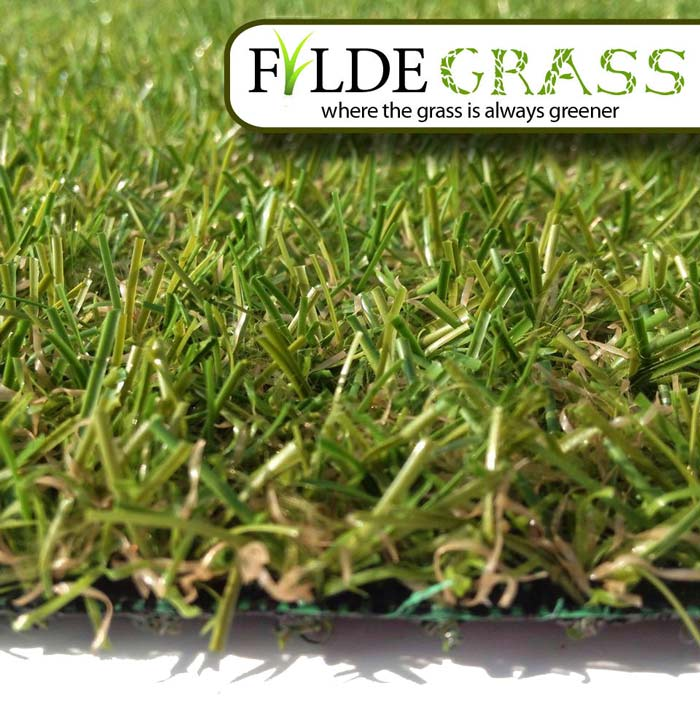 Lancaster Artificial Grass Side View with Logo