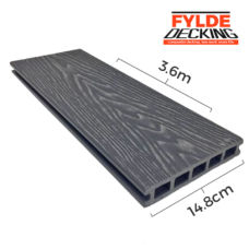 3.6m grey woodgrain composite decking