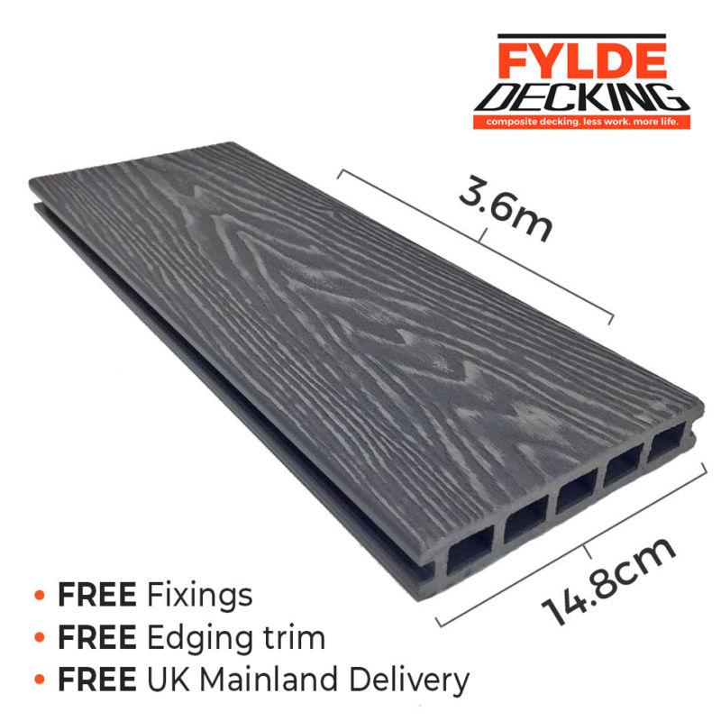 slate grey 3.6m composite decking