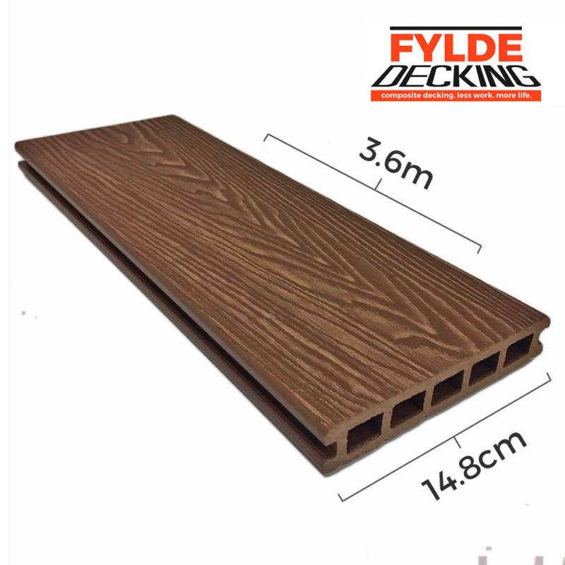 3.6m teak woodgrain composite decking