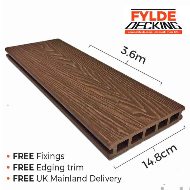 3.6m composite decking brown