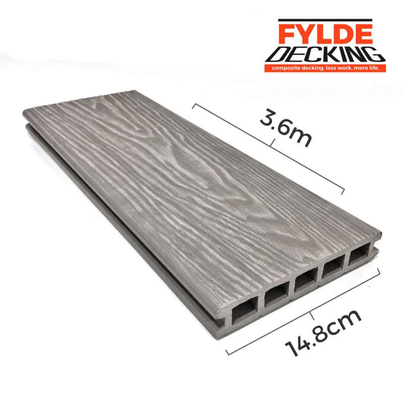 3.6m white ash woodgrain composite decking