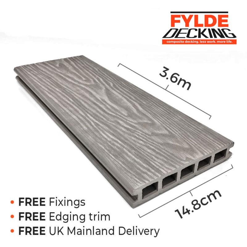 3.6m composite decking white ash