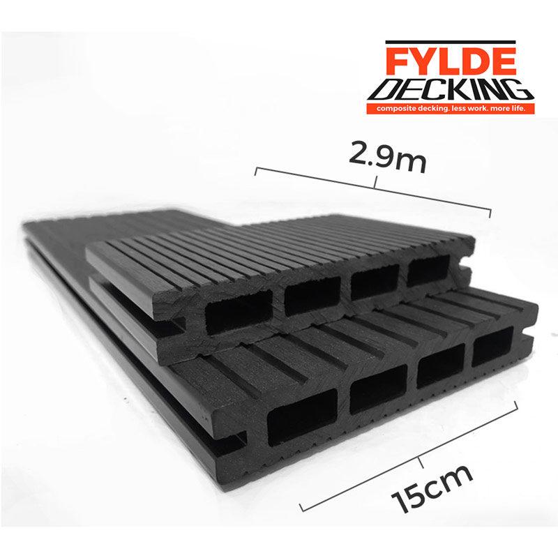 2.9m charcoal black composite decking