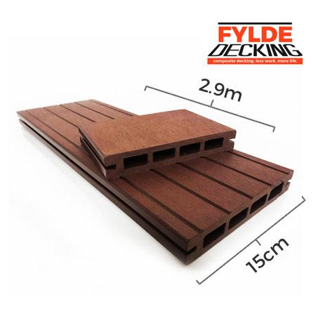 2.9m chestnut brown composite decking boards