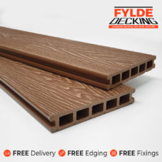 brown woodgrain composite decking boards