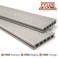 composite decking boards silver white ash 3.6m woodgrain