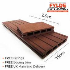 2.9m composite decking brown