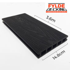 3.6m composite decking charcoal black woodgrain